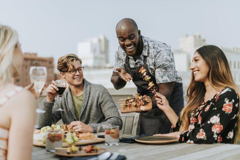 Friends eating summer foods